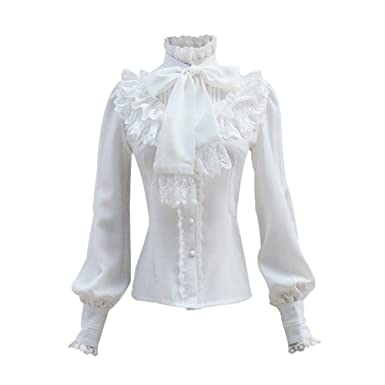 b72072da3a5b5 Ruffle Lace Bow Tie Stand-Up Collar Vintage Gothic Lolita Gorgeous Palace  Shirt at Amazon Women s Clothing store