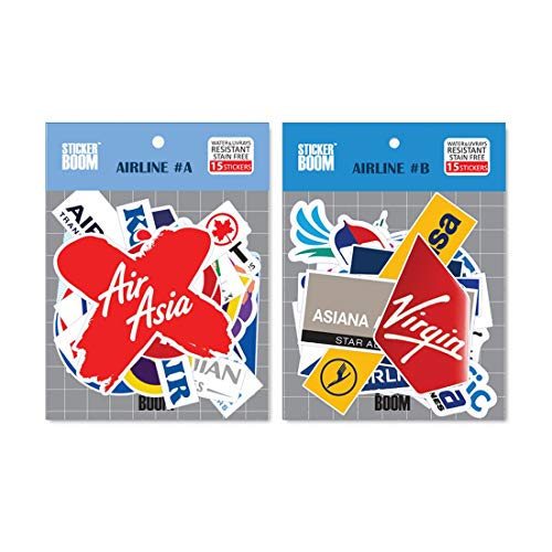 Airline Sticker 2Packs 30PCS Premium Waterproof Laptop Travel Suitcase Decal Sticker for Luggage (Airline Combo_30PCS(A+B))