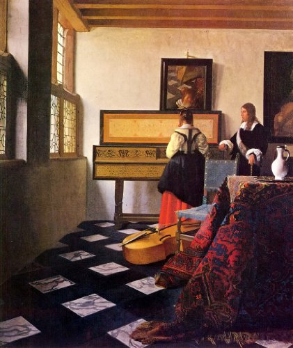 Johannes Vermeer - The Music Lesson Canvas Art Print