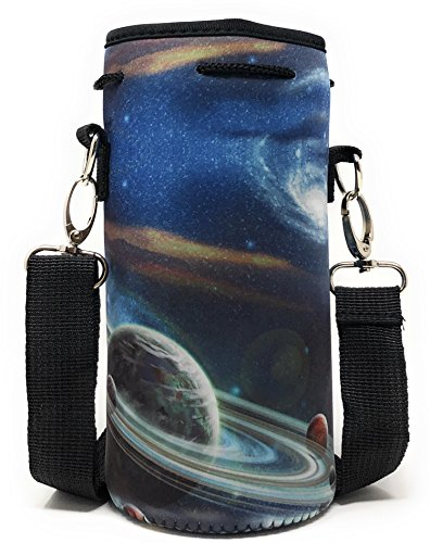 Neoprene Insulated Water Bottle Holder Carrier for (1-1.5L) Containers With Matching Padded Adjustable Shoulder Strap and Drawstring Sleeve by MEK (Space, 1 Pack)