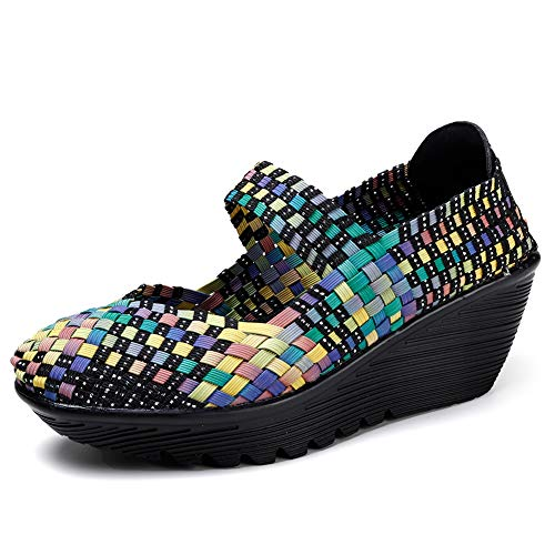 HKR Womens Woven Platform Sandals Closed Toe Summer Colorful Mary Jane Wedges Shoes Multicolor 7 US(889caise37)