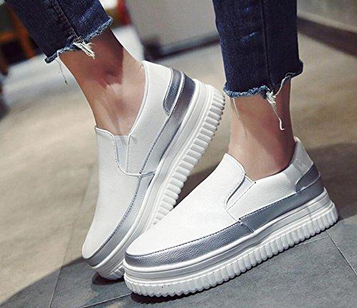 KHSKX-Otoño De Nuevo Bizcocho Espesa Lazy Bones Zapatos Femeninos Versión Coreana De La Salvaje De Escalón Aumentó Solo Zapatos Zapatos De Mujer Blanco 37
