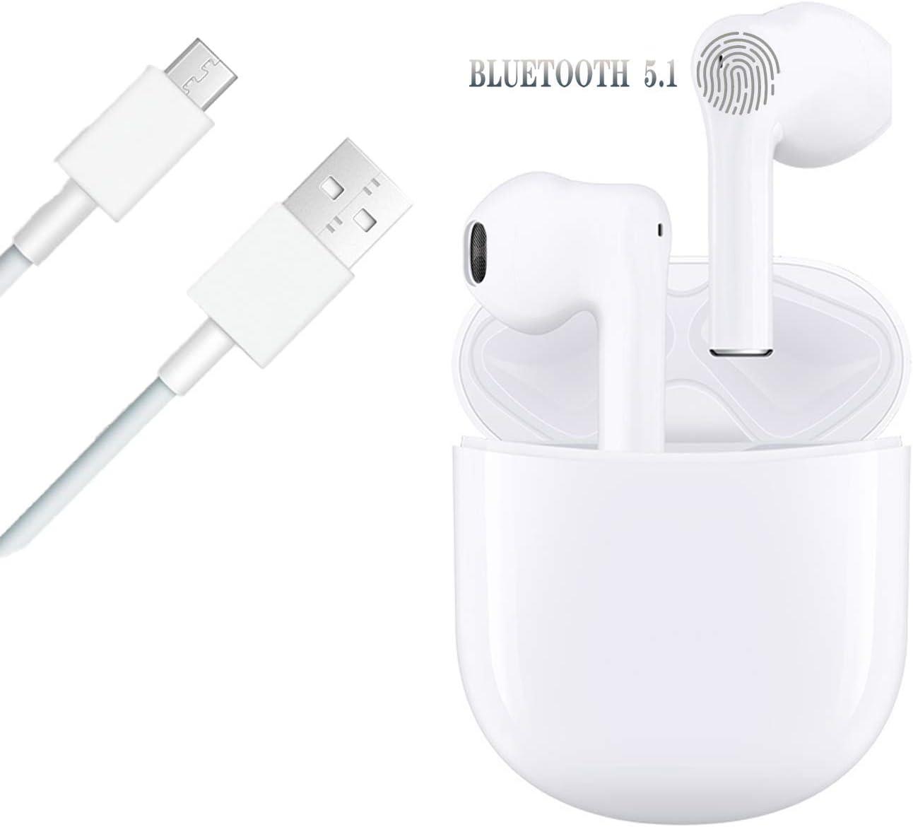 Auriculares Bluetooth Auriculares inalámbricos IPx5 a Prueba de Sudor Auriculares 3D estéreo a Prueba de Agua Toque Auriculares Deportivos Funciona Compatible con Apple/Airpods/iPhone/Android/Samsung