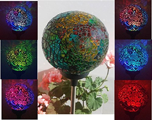 Solar Colorful Ball Lamp , Color Changing LED Mosaic Crackle Glass Ball Decorative Garden Yard Light by Florals