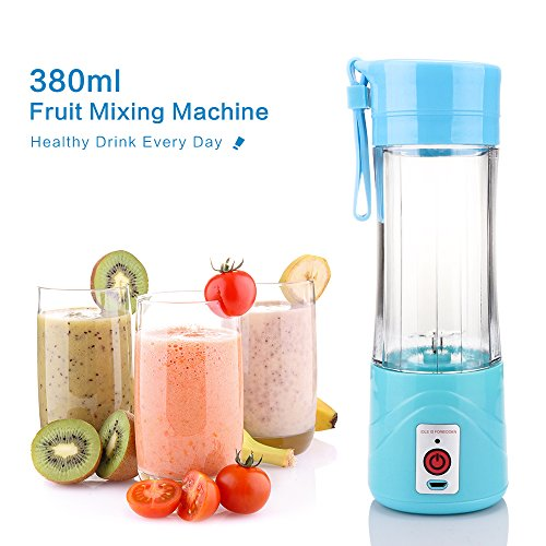 USB Juicer Cup, Fruit Mixing Machine, Portable Personal Size Eletric Rechargeable Mixer, Blender, Water Bottle 380ml with USB Charger Cable Portable Juice Blender and Mixer (Blue) by Vingtank