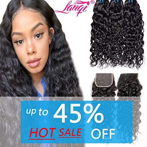 (Lanqi Water Wave 3 Bundles With Closure Wet and Wavy Human Hair Bundles With 4X4 Closure Natural Black Color(10