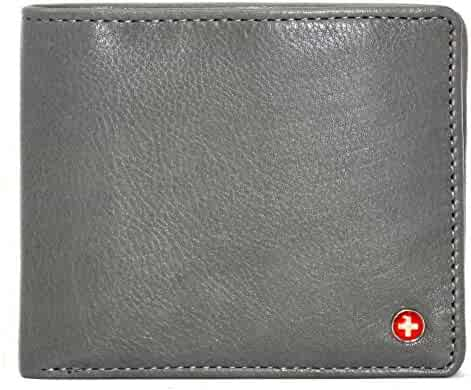 ee0583b023dd Alpine Swiss RFID Mens Wallet Deluxe Capacity Coin Pocket Bifold With  Divided Bill Section