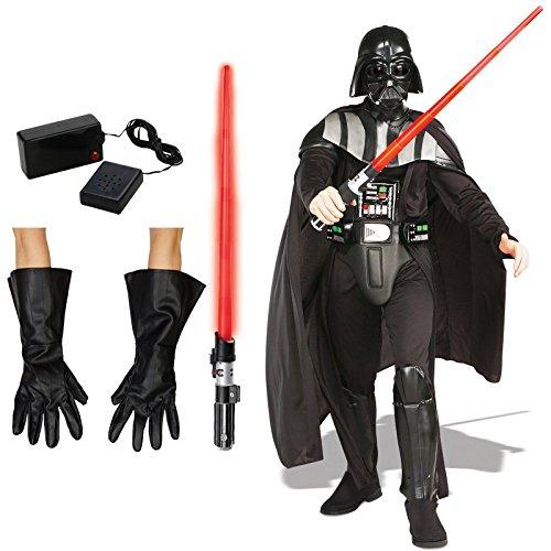 Star Wars Darth Vader Costume Bundle Set - Adult Standard Costume, Gloves, Lightsaber, and Breathing (Vader Gloves)