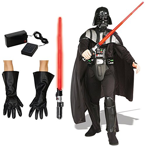 [Star Wars Darth Vader Costume Bundle Set - Adult X-Large Costume, Gloves, Lightsaber, and Breathing] (Darth Vader Deluxe Costumes)