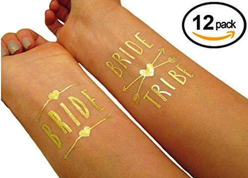 PRESTIGE 12 Bachelorette Bride and Bride Tribe Temporary Tattoo Tattoos Long Lasting Gold Metallic Bridal Shower Bridesmaid Party Supply - Bolsa Sunglasses