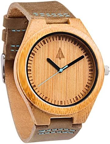 Treehut Mens Wooden Bamboo Watch with Genuine Brown Leather Strap Quality Miy.