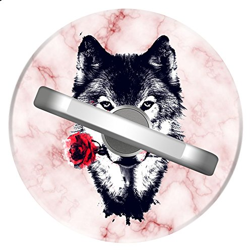 Wolf Rose Phone Ring Holder & Sliver Metal 360 Degree Rotation Ring Stand Grip For Phone iPad Tab ()
