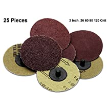 25 Pieces Of 3 Inch Roll Lock Sanding & Grinding Discs - For Rotary Tools, Die Grinder, Drill, Carpenters, Woodworking, Paint Surface Prep, & Finishing Jobs - By Katzco