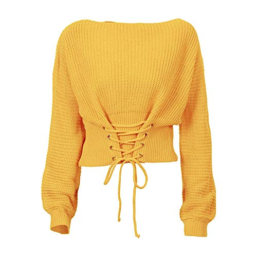 (Sexy Panyan Winter Women Loose Knitted Pullover Sleeve Lace Up Long Sleeves Off Shoulder Sexy Sweater Tops Yellow One Size)
