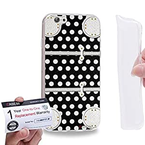 "Case88 [Apple iPhone 6 / 6s (4.7"")] Gel TPU Carcasa/Funda & Tarjeta de garantía - Art Fashion Black Dot Luggage"