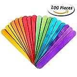 #8: 200 Pcs Colored Jumbo Wood Craft Sticks