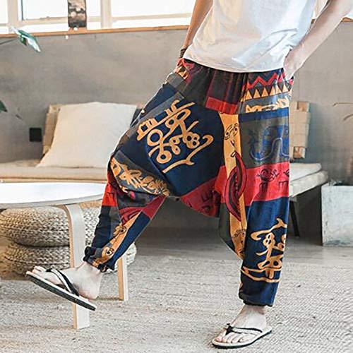 Pantaloni Forcella Yoga unisex Cadere Floreale Harem Aladdin Giallo Sciolto Joggers Pants Far I COOXxwPq