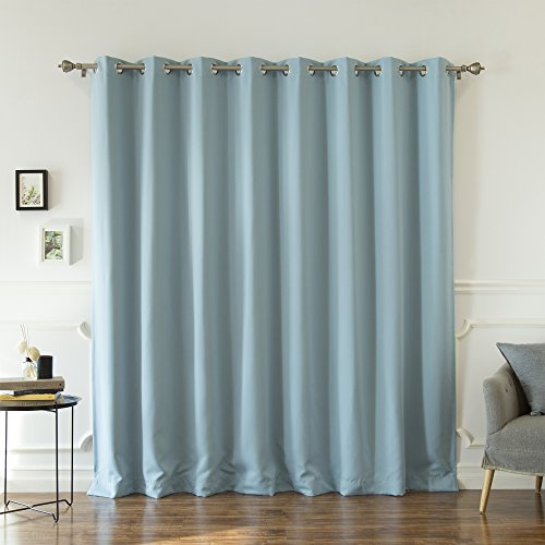 Best Home Fashion Premium Wide Width Silver Stainless Steel Grommet Top Thermal Blackout Curtain - Ocean - 100