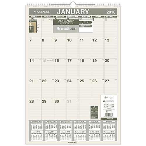 AT-A-GLANCE Monthly Wall Calendar, Recycled, January 2018 - December 2018, 15-1/2