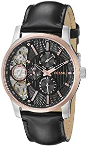 Fossil Men's ME1099 Black Leather Strap Textured Black Cutaway Analog Dial Chronograph Watch