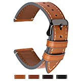 4 Colors for Watch Band, Fullmosa Top Leather Watch Strap Replacement 18mm,Dark Brown + Smoky Grey Buckle