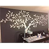 Large White Tree Wall Decal For Nursery, Large Family White Tree Wall Decal Wall Sticker, Cute Owls Tree Decal, Removable, Big Family Tree Decals