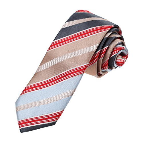 Brown Micro Stripe (DAE7A21G Brown Red Light Blue Stripes Microfiber Skinny Tie Boyfriends Narrow Tie By Dan Smith)