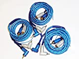 car amplifier remote wire - Installer 3 Pack RCA Audio Cable Cables 12 Feet Right Angle with Amplifier Remote Wire