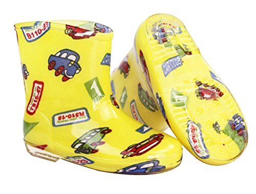 Cute Starry Kids' Rain Boots Yellow Car