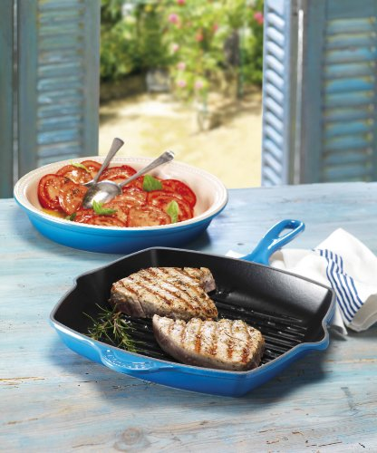 Le Creuset Enameled Cast-Iron 10-1/4-Inch Square Skillet Grill, Marseille by Le Creuset (Image #1)