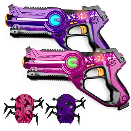 USA Toyz Laser Tag Toy Guns for Boys and Girls - 2pk Kids Toys Multiplayer Shooting Game Set w/ 2 Lazer Tag Guns and 2 Laser Tag Spider Targets (Pink and Purple)