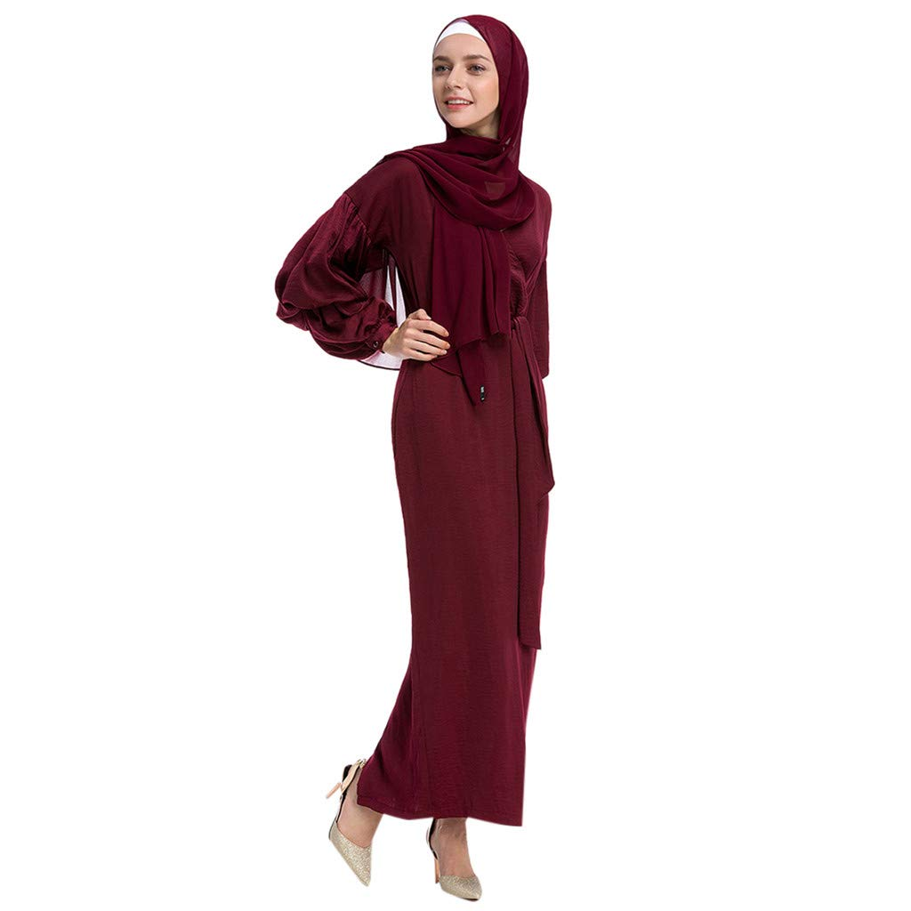 Kaftan Women Long Sleeve Maxi Dress Formal Gown Evening Dress Abaya Turkey Puff Sleeve Kaftan Clothes Casual Long Dresses (Red, S)