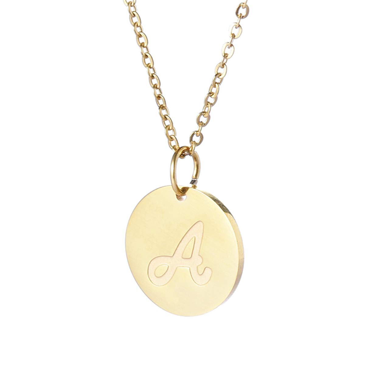 d4bbf0df7 TTVOVO Initial Letter Necklace Stainless Steel 18K Gold Filled Engraved  Personalized Disc 26 Alphabet Letter Monogram Name Charms Pendant Necklace  for Women ...