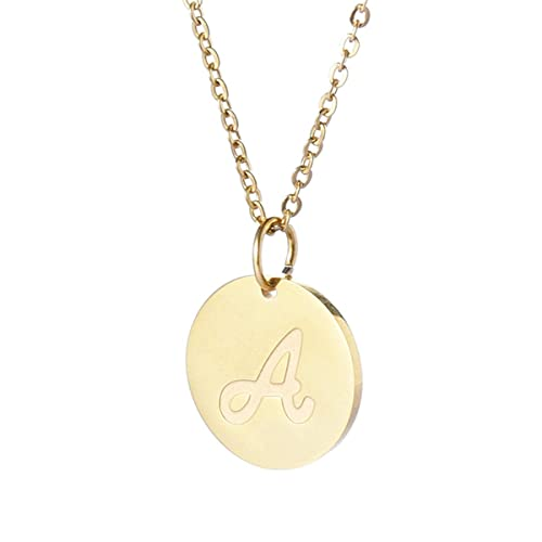 e89d1f7f7 TTVOVO Initial Letter Necklace Stainless Steel 18K Gold Filled Engraved  Personalized Disc 26 Alphabet Monogram Name
