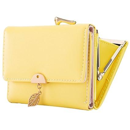 Monedero de Cuero Genuino para Mujer KOGOLIKE Mini Delgado Cartera de Piel Cremallera Billetera con Llavero (Amarillo)