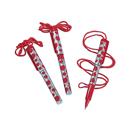 Fun Express - Valentine Pen On A Rope for Valentine's Day - Stationery - Pens - Pen Necklaces - Valentine's Day - 12 Pieces -