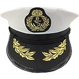 Capitani Cappello Uomo Donna Nero Bianco - Costume per adulti e bambini - Perfetto per carnevale - Taglia unica (A)
