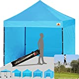 ABCCANOPY (18+colors) 8ft by 8ft Ez Pop up Canopy Tent Commercial Instant Gazebos with 4 Removable Sides and Roller Bag and 4x Weight Bag (sky blue)