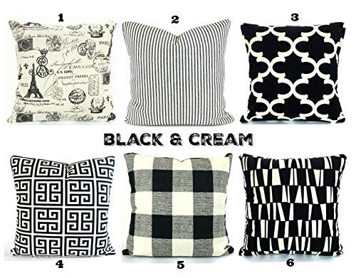 Surprising Amazon Com Black Cream Pillow Covers Cushions Decorative Frankydiablos Diy Chair Ideas Frankydiabloscom