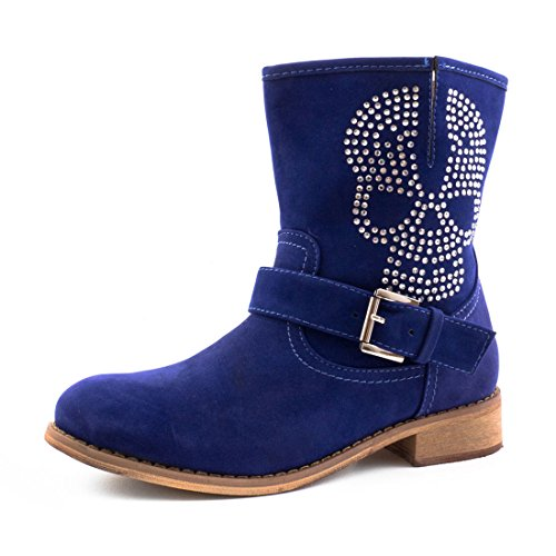 Wildlederoptik Damen Totenkopf Strass Stiefeletten Blau Stiefel In