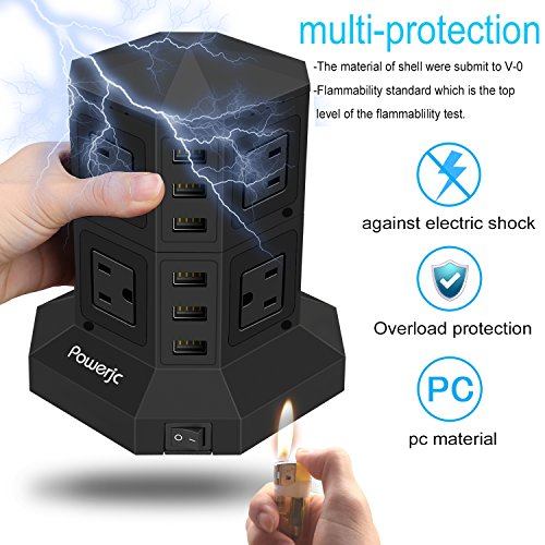 Tower Power Strip Surge Protector 8 AC Outlets with 6 Usb ports Chargers Black-Powerjc by Powerjc (Image #4)