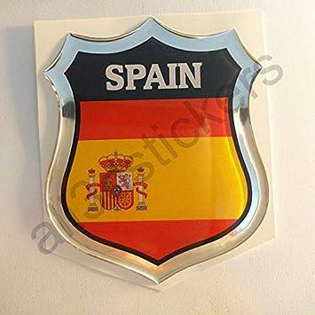Pegatina España Relieve 3D Escudo Bandera España Resina Adhesivo Vinilo: Amazon.es: Coche y moto