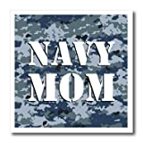 3dRose ht_15407_3 Navy Mom Blue Camouflage Iron-On Heat Transfer for White Material, 10 x 10