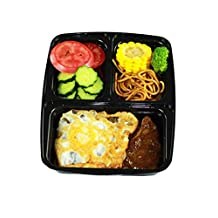[10 Pack] Grapat Express Eco-Friendly 3 Compartment Plastic Food Storage Containers with Airtight Lids, Durable & Reusable, Microwave & Dishwasher Safe
