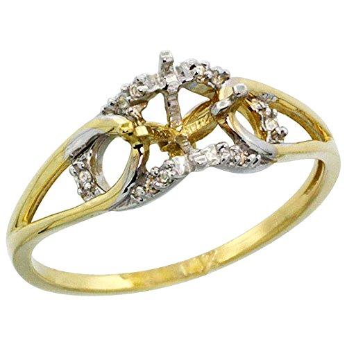 14k Yellow Gold 0.05 ct Diamond Semi Mount Ring Round 6 mm, size 10