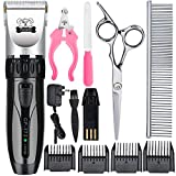 Cropal Dog Clippers, Quite Cordless Dog Cat Grooming Clippers, Pet clippers, Low Noise Dog Shaver Trimmer(silver/black)