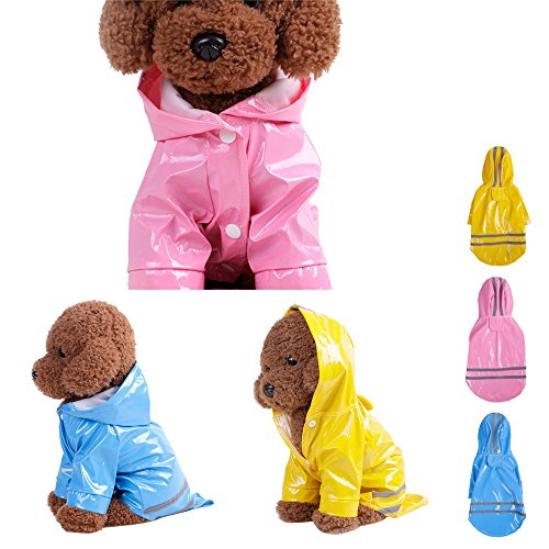 Pet Dog Raincoat For Small Dogs | Dog Rain Jacket With Hood | Dog Rain Poncho | 100% Polyester | Water Proof | Grey Reflective Stripe | Puppy Pet Raincoat for S,M,L,XL (S, Pink)