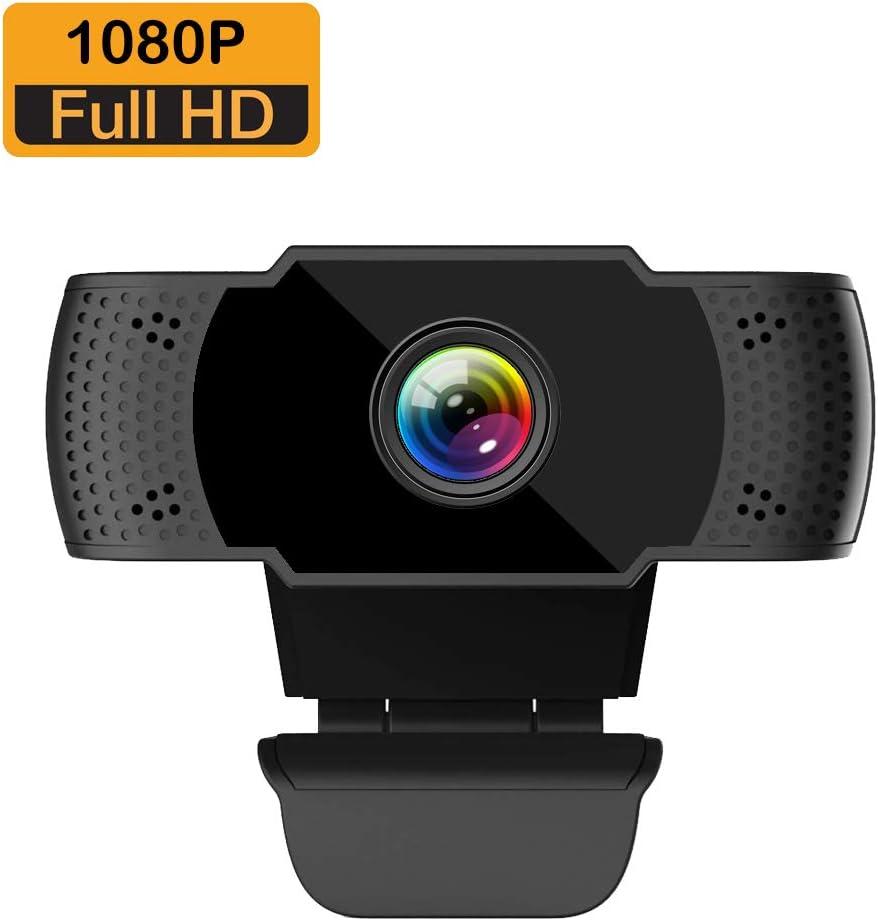 ieGeek Cámara Web Full HD 1080P con micrófono, computadora portátil PC Webcam de Escritorio USB 2.0 Webcam para videollamadas, Estudios, conferencias, grabación, Juegos con Clip Giratorio