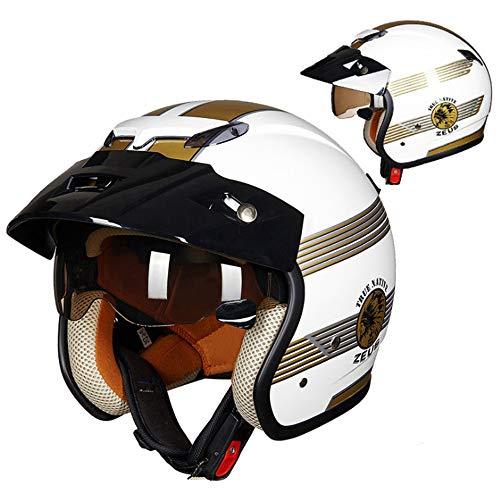 Yedina Adult Retro Open Face Harley Motorcycle Helmet, Open Helmet 3/4 Cruiser Pilot Helmet DOT Certified Sun Visor Built-in Lens Travel Helmet Detachable Lining Motorcycle Bicycle Half Helmet,XXL