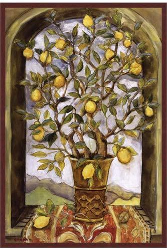 Poster Palooza Framed Lemon Branch Bouquet- 24x36 Inches - Art Print (Walnut Brown Frame)